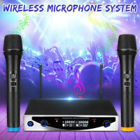 Dual 2 MIC VHF Wireless Cordless Microphones UHF Receiver Karaoke DJ   z