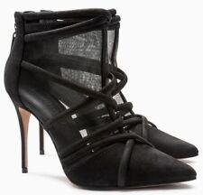 Siguiente Negro De Cuero De Gamuza & Malla jaula Zapato Botas, Size UK 5