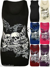 Skull Semi Fitted Sleeveless Tops & Shirts for Women