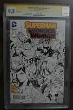 Superman Wonder Woman #1 1:100 Sketch Variant CGC 9.8 SS Signed By Soule/Banning