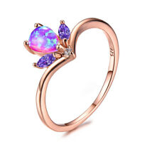 Handmade Pink Fire Opal Amethyst Rose Gold Plated Silver Crown Ring Size 7-10