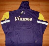 Minnesota Vikings Full Zip Hoodie 4XL Tall Embroidered Logos Hooded Jacket NFL
