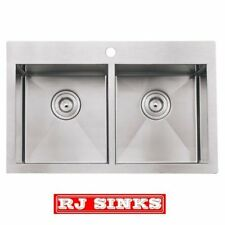 "33"" Zero Radius Top Mount Double Bowl 16 Gauge Stainless Steel Kitchen Sink"
