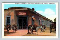 Santa Fe NM, Ancient La Fonda Hotel Burros Wagon Vintage New Mexico Postcard