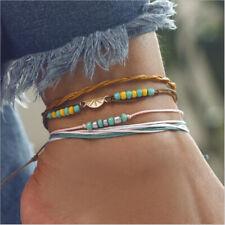 Handmade Rope Sandal Anklet Beads Bracelet 2020 Women Boho Turquoise Beach Foot