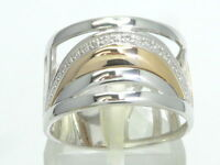 Goldring Ring 585 GOLD 14 Karat Brillant Diamant diamond bague or bicolor Rot