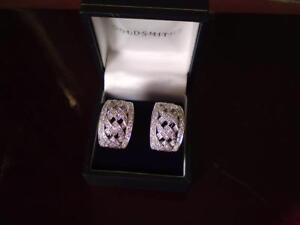 Hallmark 18ct White Gold One and fourteen Carat Diamond Half Hoop Woven Earrings