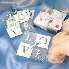 Love Glass Coaster Set of 4 Favor Wedding Bridal Shower Gift Favors