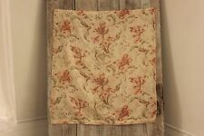 Antique French cafe curtain sheer floral pattern c 1900 orange + green fabric