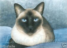 ACEO art print Cat 547 siamese from original painting by L.Dumas
