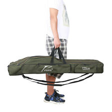 Fishing Rod Bag Pole Tackle Carry Case Holdall Reel Foldable Canvas Big Storage