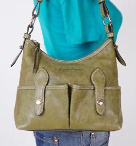 DOONEY BOURKE Small Med Green Leather Shoulder Hobo Tote Satchel Purse Bag