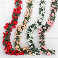 Artificial Flower Rose Vine Wedding Decor Flower String With Leave Home De Gw
