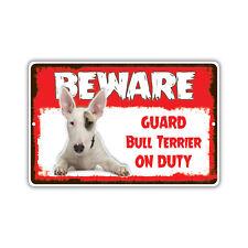Beware Guard Bull Dog On Duty Novelty Aluminum Metal 8x12 Sign