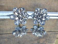 Rhinestones Flower Knob Drawer Pull ~ Metal Antique Bronze Floral Jewels Home