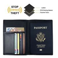 Men's Leather RFID Blocking Passport Holder Travel ID Cover Credit Card Wallet