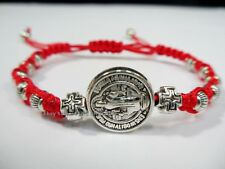 San Benito St Saint Benedict Medal Silver Cross Bracelet Adjustable Catholic #CA