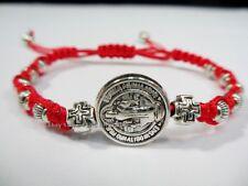 San Benito St Saint Benedict Medal Silver Cross Bracelet Adjustable Catholic #CA