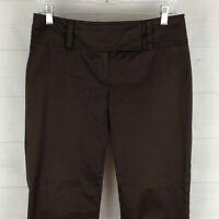 Ann Taylor Lindsay womens size 4 stretch brown flat front mid rise capri pants