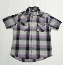 Hang Ten Mens Shirt Size Large Short Sleeve Purple Gray plaid snap cotton surf