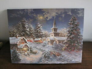 LED Christmas Light up canvas  Christmas scene Picture batteries not supplied