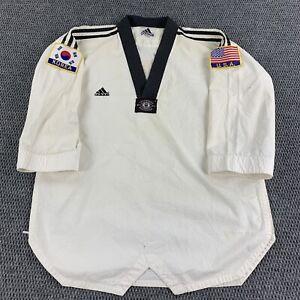 Adidas Taekwondo Uniform Top 4 Korea USA Patches Embroidered Logo All Over Print