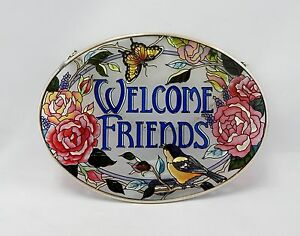 Hand Painted Amia Welcome Friends Suncatcher