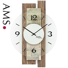 AMS 48 Wanduhr Quarz analog Wohnzimmeruhr mit Naturstein Auflage 471