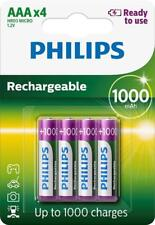 4 x PHILIPS 1000mAh AAA RECHARGEABLE BATTERIES READY TO USE