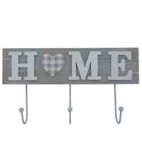 Wall Coat Hooks Robe Rack Holder 3 Hooks Wooden Home Grey Rustic Wooden 30cm L