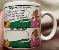 The Far Side What We Say to Cats Coffee Cup Mug Kitty Vintage 1983 Gary Larson