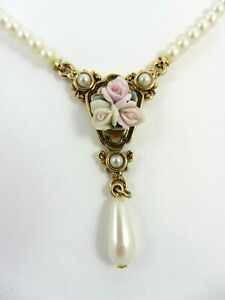 """1928 Jewelry Co. Faux Pearl Necklace w/ Porcelain Roses 17"""""""