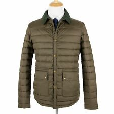 NWT Barbour Olive Microfiber Rowe Quilted Tweed Collar Quilted Puffer Jacket XL