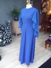 Vintage 70s Retro Evening  Cocktail Boho Blue Maxi Sheer Sleeve Dress UK 10 /12