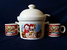Campbell's Soup Tureen with Lid and Two Mugs 1998 Houston Harvest