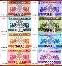 SET Georgia, 20000 to 1000000 Laris, 8 banknotes Complete 1994 Issue, UNC
