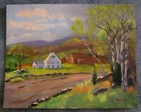 AMERICANA FOLK ART WHITE HOUSE BLACKSTONE VALLEY NATIVE AMERICAN SITE PAINTING