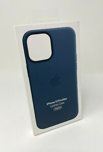 Genuine Apple Leather MagSafe Case for iPhone 12 Pro Max MHKK3ZM/A Baltic Blue