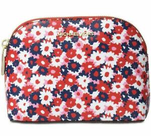 Michael Kors Women`s Medium Begonia Red, White & Blue Travel Pouch - New
