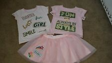 Girls size 2T Healthtex 2 tshirts and tulle skirt 3 piece outfit