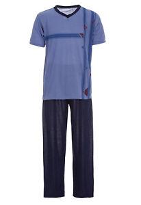 Herren Pyjama Schlafanzug kurz 2-Teilig V-Kragen Größe M L XL XXL