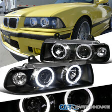 92-98 BMW E36 2/4Dr Coupe Sedan Dual Halo 1PC Projector Head Lights Lamps Black