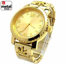 Men's Hip Hop 14k Gold Plated Heavy Metal Band Techno Pave Weed Watch 6937 G MJ