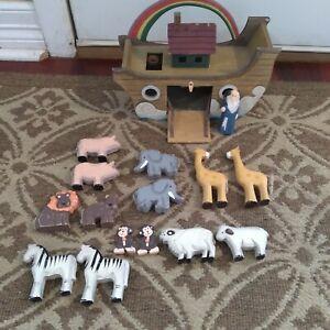 Vintage WOODEN Noah & Ark w /7 -pairs of Animals Primitive FOLK ART