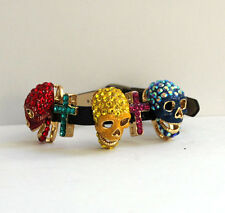 Butler and Wilson Multi Crystal LARGE Skull Cross Strap Bracelet NEW