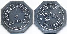 VERY RARE TOWN JOHN SCHMID 2½c SALOON TOKEN FROM SHEFFIELD MISSOURI MO