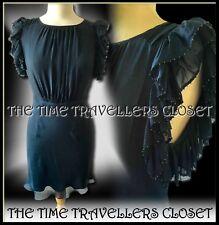 Kate Moss Topshop Navy Blue Silk Petrol Beaded Ruffle Backless Mini Dress UK 12