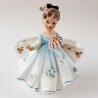 Vintage Relpo Girl Planter Blue Dress Gift K1364 *REPAIRED - READ DESCRIPTION*