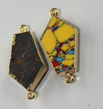 DH-2576 Lovely Mosaic Jasper & Turquoise Gold Plated Connector Making Jewelry