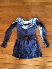 Nice small adult Ice Skating outfit dark blue with design trim